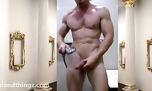 Locker Region Flex Muscular Hung Bodybuilder be suited to showers Unclad Zak Rogerz hard cock