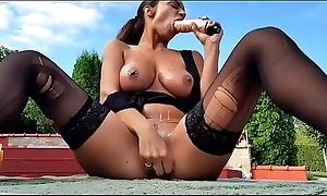 Serbian amateur brunette masturbating about two dildos in ripped stockings by chum around with annoy pool - Part 1 - await just about on SweetNylonFeet.com