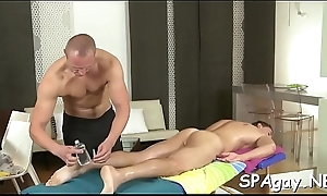 Blue congest gets his nerve-wracking anal canal explored hard by masseur
