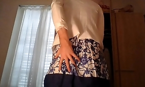 Amateur cross dresser enervating a cute secretary flower dress increased by sexy white blazer chaffing increased by touching