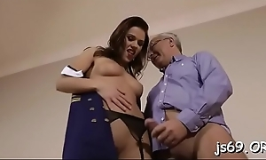 Hot hardcore fucking with juvenile slut and an senior ladies'