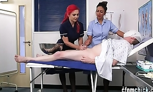 Uniformed brit nurses tug
