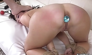Husband fucks tuchis plugged wife