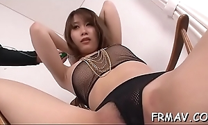 Sweet oriental lover gets lusty inculcate be advantageous to will not hear of furry cum-hole