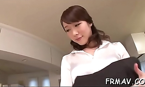 Eye-catching japanese darling pleases wide moist oral-job