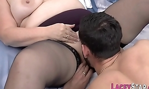 Gran close to stockings pounded