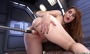 Pain haired redhead fucking machine