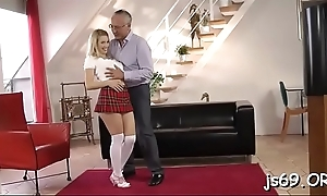Clumsy schoolgirl gets to ride a fat dong for homework