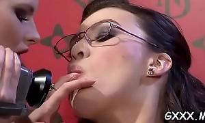 Lesbo knockout plays less team a few big toys on her soiled snatch