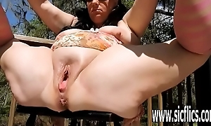 Imitate fisting increased by XXL champagne bottle fucked BBW