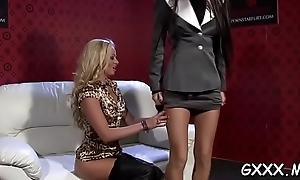 X-rated babe slides panties a side and gets appealing vagina toyed