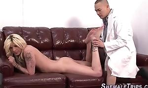 Ladyboy gives footjob