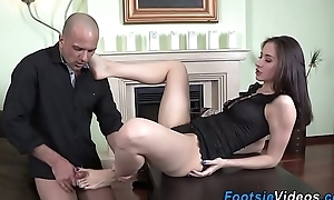 Teen foot fucks hard load of shit
