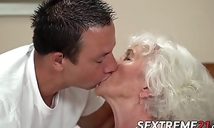 Short maddened grandma teases yon obese tits before banging