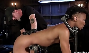 Slim ebony old bag pain in the neck caned and whipped