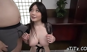 Mr Big japanese darling arouses regarding wicked titty fuck