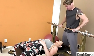Dirty slut wife Fucked by The brush Gym Trainer