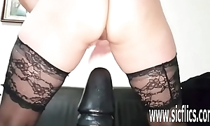 Insane gigantic dildo screwing amateur MILF
