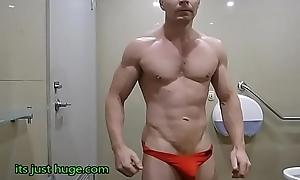 Hung Bodybuilder Flexing shirtless in in flames weasel words sox briefs Zak Rogerz