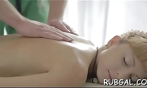 Powerful masseur seduces hot trollop to bang the brush moist muff