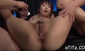 Gorgeous asian playgirl gives salacious with an increment of wild knocker fuck