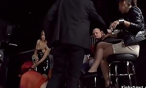 Redhead Euro slut anal group-fucked in bar