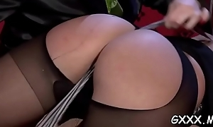Hot lesbian gets chunky ass spanked hard and sweet pussy domesticated