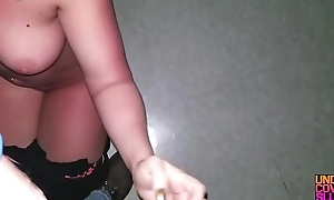Big Tit MILF Married slut Blows Stranger in Adult Theater