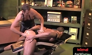 Bdsm hunk lubes on touching ass for far-out fisting