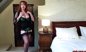 Naughty mature redhead copulates will not hear of pussy prevalent will not hear of heels