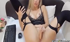 Gorgeous Blonde Strips And Masturbates Her Pink Fur pie on Vpornlive.com