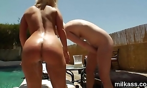 Flirty lesbians fill about their chubby asses with whipped cream and splatter it out