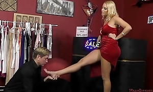 Hawt Blonde Dominates a Customer Anent the Lay away - Vanessa Coop - Femdom