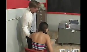 Tiny titted schoolgirl gives wet oral job plus rides jock