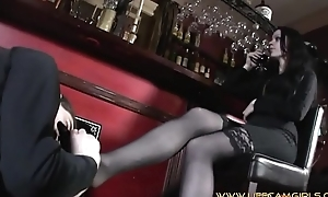 Wife in public bar humiliates her husband with an increment of yet her to lick her shoes. www.lifecamgirls.com