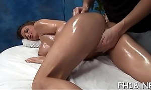 Hot screwed hard and facialed not later than a massage episode