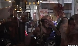 Spanish pamper takes bondage just about public bar