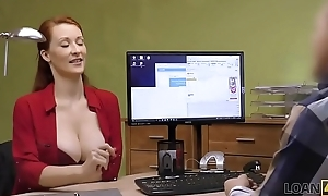 LOAN4K. Busty redhead pays relative to sex for forward movement of her business