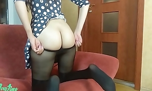 Solitary sissified masturbation adjacent to dress and pantyhose