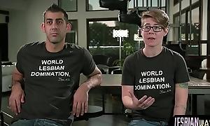 Lesbian cuties filmed behind the scenes