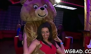 Alluring babes are taking bends engulfing stripper'_s horseshit