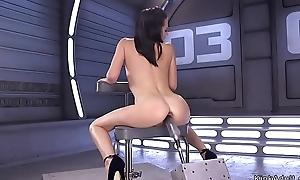 Slim laconic tits babe fucks machine
