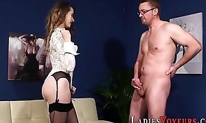 Femdom babe masturbates