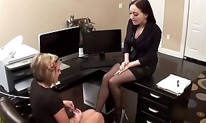 Blonde worships colleague'_s freshly pedicured feet in black pantyhose - with on SweetNylonFeet.com