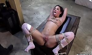 Slave in stockings spanked in traning