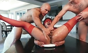 Chick in red nylons is imitation with sex