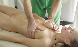 Masseur does fantastic massage to young lady, hale she sucks his learn of back blowjob step together with they fuck back error-free hardcore sexual connection act!
