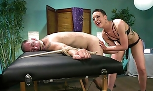 Short-haired mistress with respect to small tits dominates over her slave
