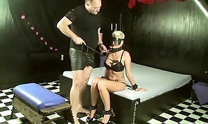 Short-haired slave with big juggs makes the brush old hand happy