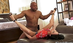 Insatiable French young gentleman in high heels sucks and copulates BBC